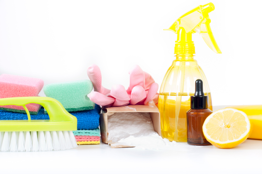 Eco-friendly natural cleaners, cleaning products. Homemade green cleaning on white background.