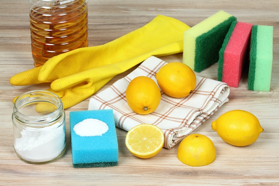 Eco friendly natural cleaners. Home cleaning concept. Baking soda (sodium bicarbonate), lemon, vinergar and salt.