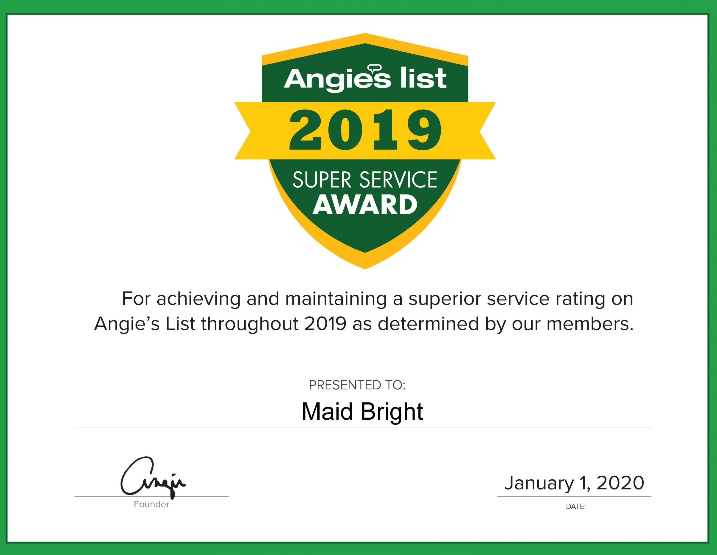 Maid Bright 2019 Super Service Award